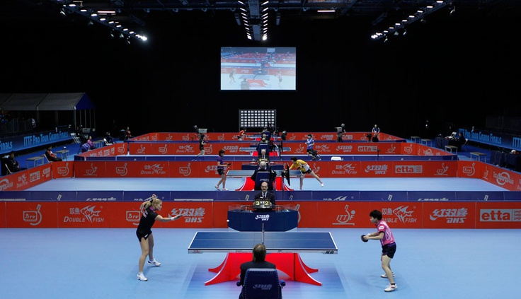 Preliminary group matches of the ITTF Pro Tour Table Tennis Grand Finals, used as the test event for the Olympic table tennis venue at the Excel center in east London, on November 24, 2011. (Reuters/Eddie Keogh)