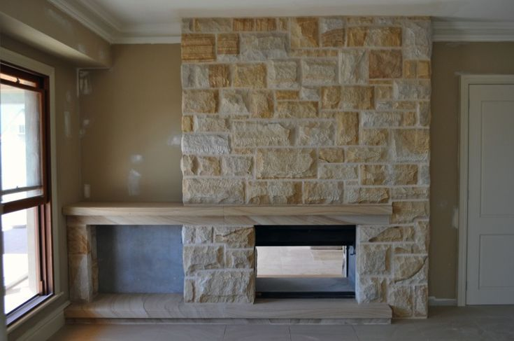 sandstone fireplaces with wood storage