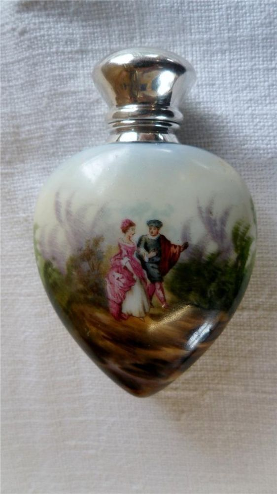 Antique Heart Shape Porcelain Scent Perfume Bottle Silver