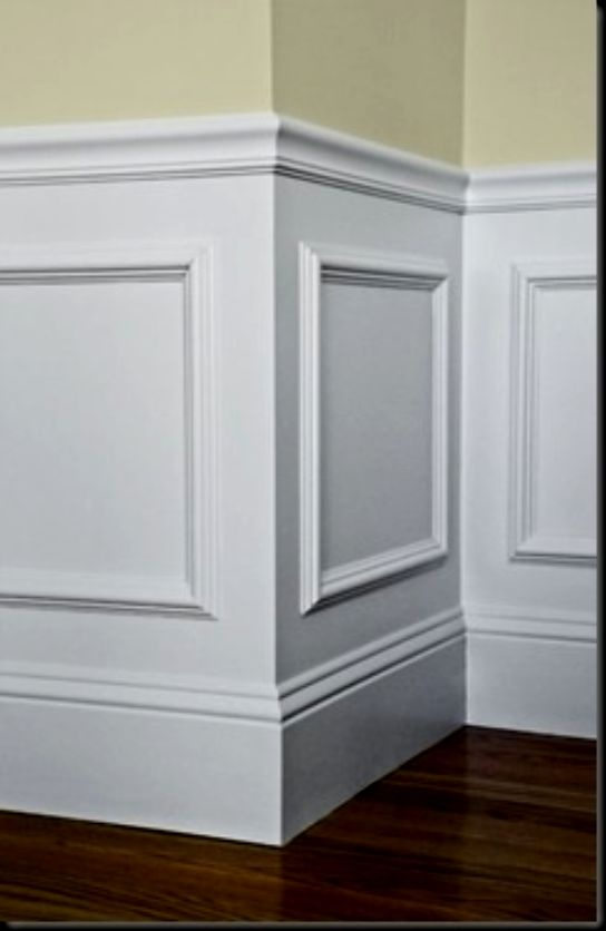 Brilliant !! Easy wall panelling idea. . BUY inexpensive or Re-purpose OLD PICTURE FRAMES ... Glue to wall and paint over with white ( or YOUR choice of colour ) to the entire lower half.