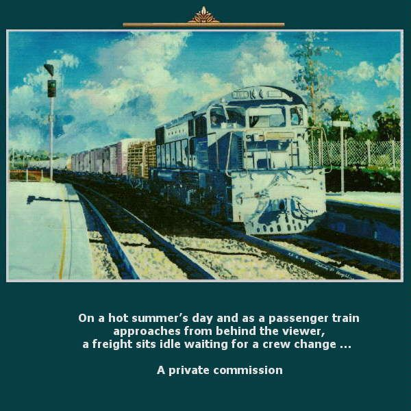 On a hot summer's day and as a passenger train approaches from behind the viewer, a freight sits idle waiting for a crew change …  A private commission https://www.youtube.com/watch?v=s1rg_kixu_w greatvideo@yahoo.com.au
