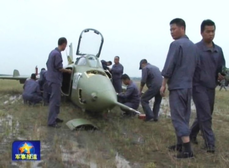 Emergency landing by the ChineseChinese Q-5/A-5 Fantan Ground Attack Aircraft