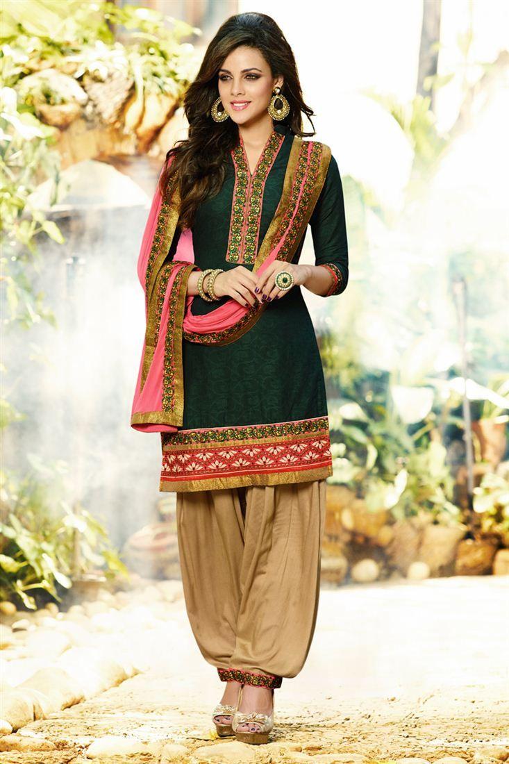 Designer Cotton And Jacquard Patiala Salwar Suit