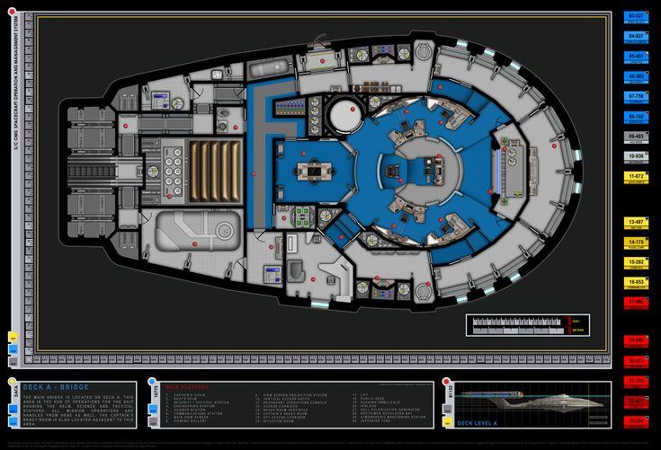 Colored Bridge Schematic Columbia Class Starship U S S