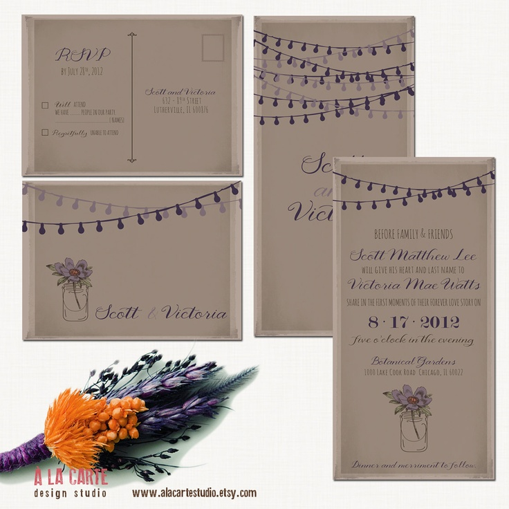 Floral Purple Fawn Rustic Wedding Invitation Suite - Invitation and RSVP - Mason Jars and String ...