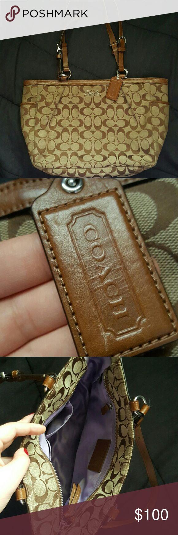 Coach purse Tan / khaki colored coach purse with leather trim and silver hardware, lavender silk interior, super clean Coach Bags Shoulder Bags