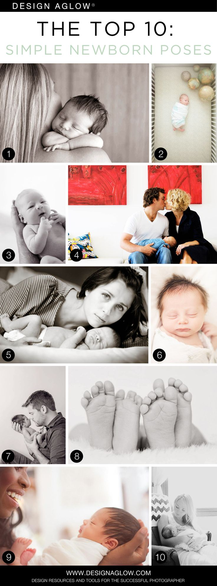 What we love about these Top Ten newborn poses: They can all be accomplished safely in under a minute, without any spotting, composites, or Photoshop magic; They rely on classic portraiture techniq...
