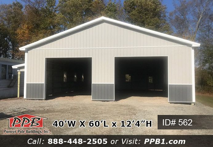 A Workshop With Two Garage Doors And Lots Of Space To Work It Comes With Two 12 X 10 Garage Door And Two Entry Garage Door Styles Pole Buildings Roof Colors