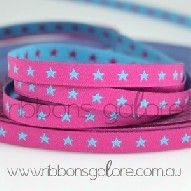 star ribbon in fuchsia and aqua (7mm wide) [per metre] - $2.80 : Ribbons Galore, your online store for the best ribbons