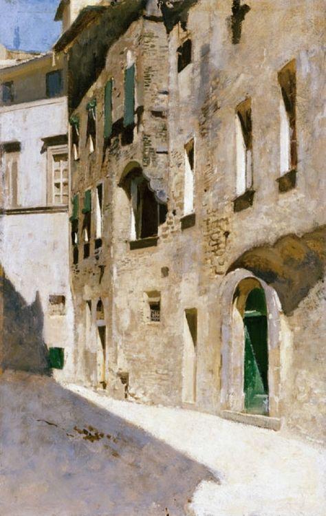 Vincenzo Cabianca (Italian, 1827-1902), Effetto di sole, 1868-72. Oil on panel, 32 x 20 cm. Galleria d'arte moderna di Palazzo Pitti, Florence.
