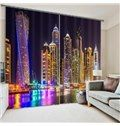 3D Wonderful City Night Scenery Printed Polyester Modern Style Dust-Proof Custom Curtain on sale, Buy Retail Price 3D Scenery Curtains at Beddinginn.com