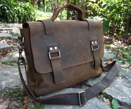 """Very good quality - lots of details!!  15"""" Vintage Full-Grain Leather Men's women's Briefcase Shoulder Bag Messenger   eBay"""