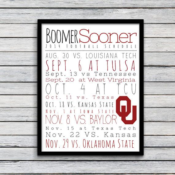 "Oklahoma University 2014 Football Schedule Print. 8.5""x11"""