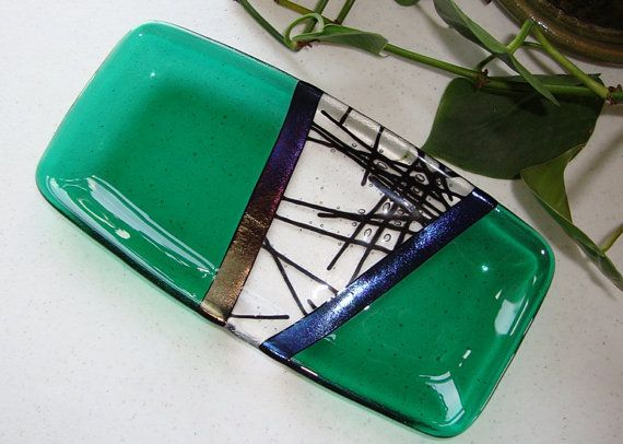 Fused Glass Dish  Chopstix Collection Green by fireflysg on Etsy, $38.00