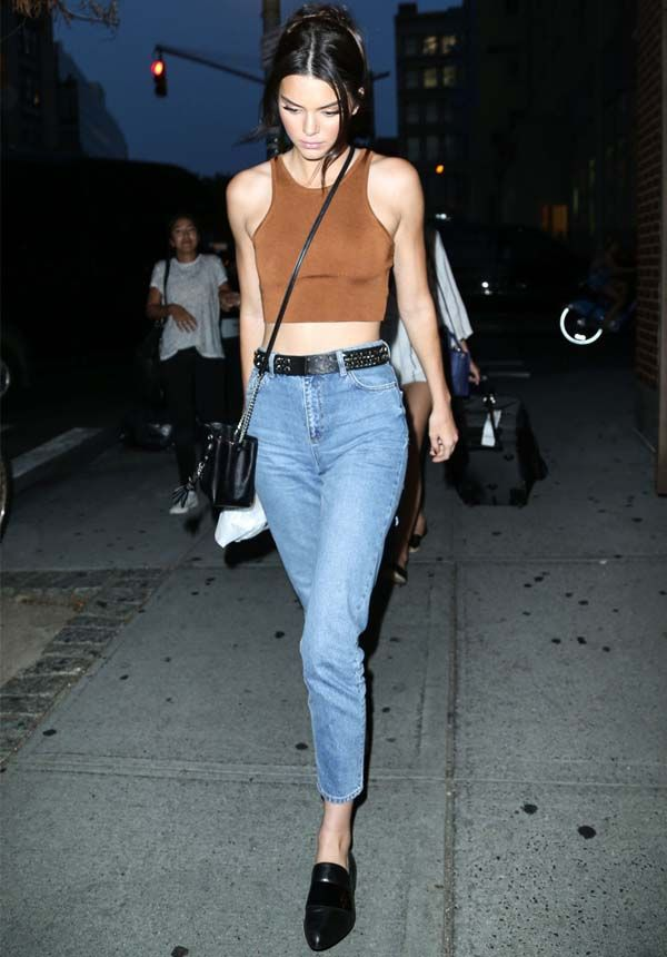kendall jenner - caramel cropped top + jeans + black belt and loafers #fashion