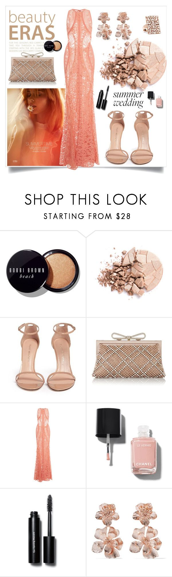 """Summer wedding"" by sarah-alam ❤ liked on Polyvore featuring Bobbi Brown Cosmetics, Anastasia Beverly Hills, Stuart Weitzman, Valentino, Elie Saab, Chanel, Oscar de la Renta and Suzanne Kalan"