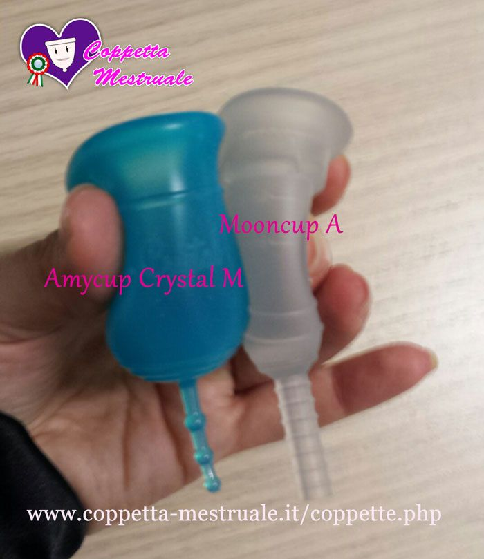 Amycup Crystal Vs. Mooncup. Buy them from our shop: https://www.coppetta-mestruale.it/coppette.php