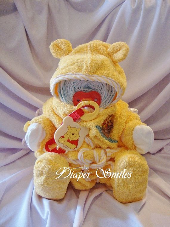 WINNE THE POOH Diaper Baby Cake by Diapersmiles on Etsy, $30.00