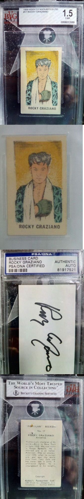 Boxing Cards 37795: 1950 Kiddy S Cummings Exhibit Rocky Graziano Rookie Cards Bvg Psa Autograph -> BUY IT NOW ONLY: $3395.75 on eBay!