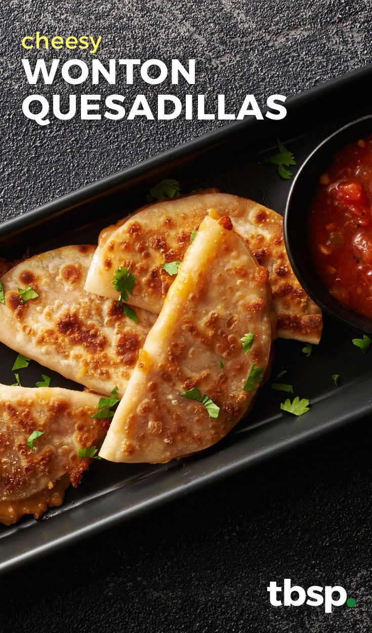Mini quesadillas have never been easier! Round (gyoza) wonton wrappers mimic the shape of a standard tortilla, so prep is quick and the results are delicious.