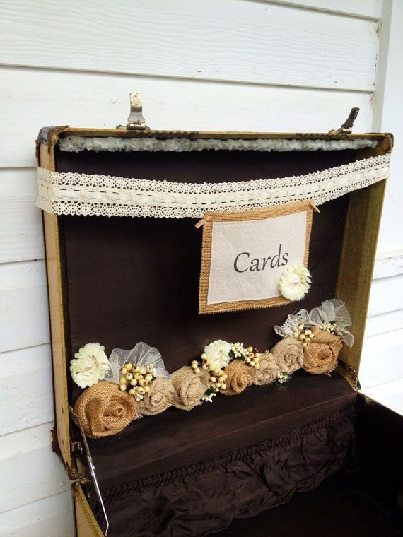 Vintage, Suit Case, Wedding, Reception, Card Holder, Basket, Bridal/  Baby, Shower, Gift Basket, Boho, Shabby Chic, Steam Punk Style Box on Etsy, $138.00