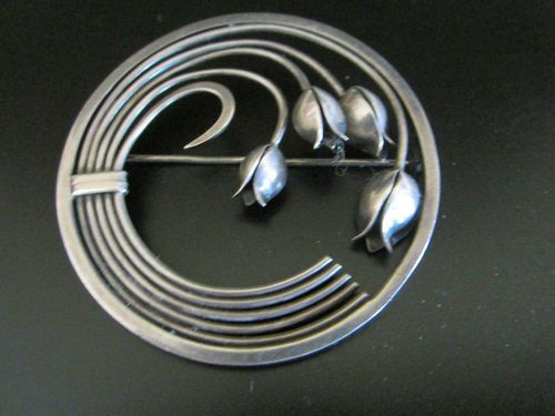 Brooch | George Jensen. 'Lily of the Valley'  Sterling silver.  c. late 1940's
