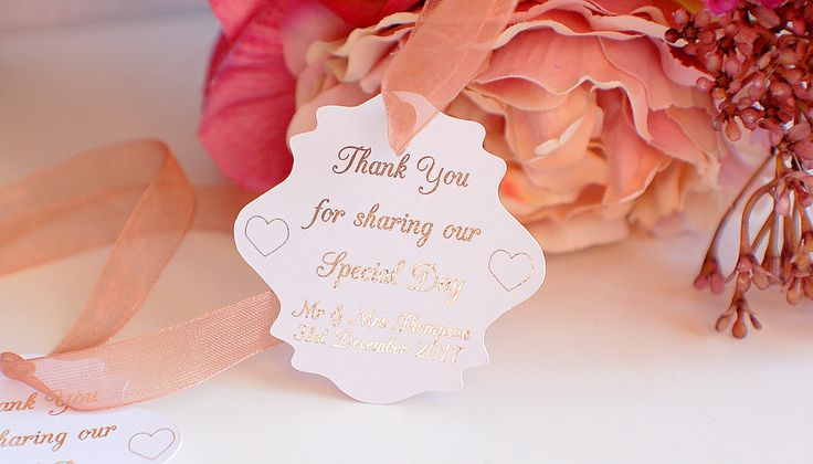 Wedding thank you tags, foiled wedding tags, thank you for sharing our special day tags, wedding favovr tags, thank you wedding cards by TPDWeddingStationary on Etsy