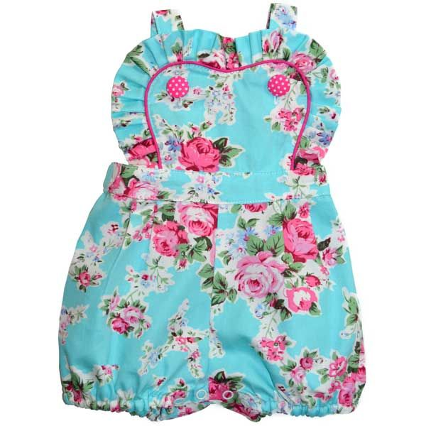 Audrey Romper Blue Floral | Rock Your Baby | www.rockyourbaby.com