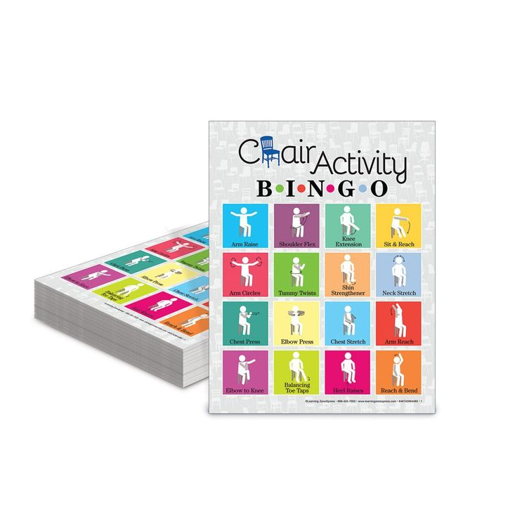 The Chair Activity Bingo Game features seated stretches and simple movements that must be completed in order to mark your game card. Perfect for use with older adults, classrooms with limited space, or anyone with limited mobility.
