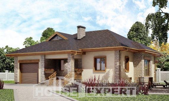 130-006-L Projekt domu parterowego i garażem, zwyczajny domek z bloków pianobetonowych, Góra
