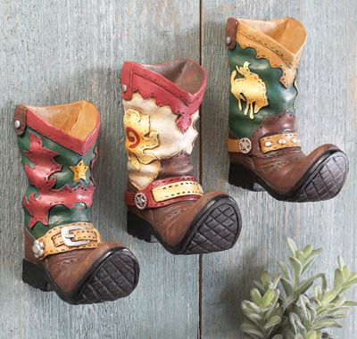 Western Cowboy Boot Wall Hooks- Set of 3