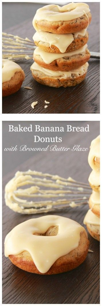 Baked Banana Bread Donuts with Browned Butter Glaze on http://www.cookingwithruthie.com are going to rock your world!