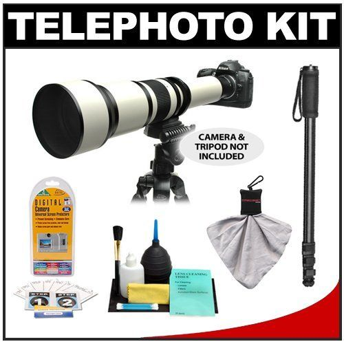 "Rokinon 650-1300mm f/8-16 Telephoto Zoom Lens with 2x Teleconverter (=650-2600mm) + Monopod Kit for Nikon D3100, D3200, D5000, D5100, D7000, D700, D800, D4 Digital SLR Cameras by Rokinon. $274.95. Kit includes: ♦ 1) Rokinon 650-1300mm Telephoto Zoom Lens ♦ 2) 2x Teleconverter ♦ 3) Nikon AF T-Mount Adapter ♦ 4) Rear Lens Cap for Nikon AF Lenses ♦ 5) Rokinon 67"" Monopod with Carrying Case ♦ 6) LCD Monitor Screen Protection Kit ♦ 7) Precision Design Microfiber Lens..."