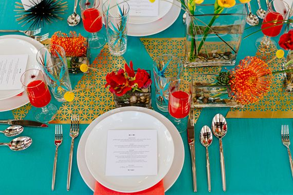 Modern aqua and orange wedding ideas | Photo by Mary Wyar | Concept design by Modernly Events Florals | Read more - http://www.100layercake.com/blog/?p=74300