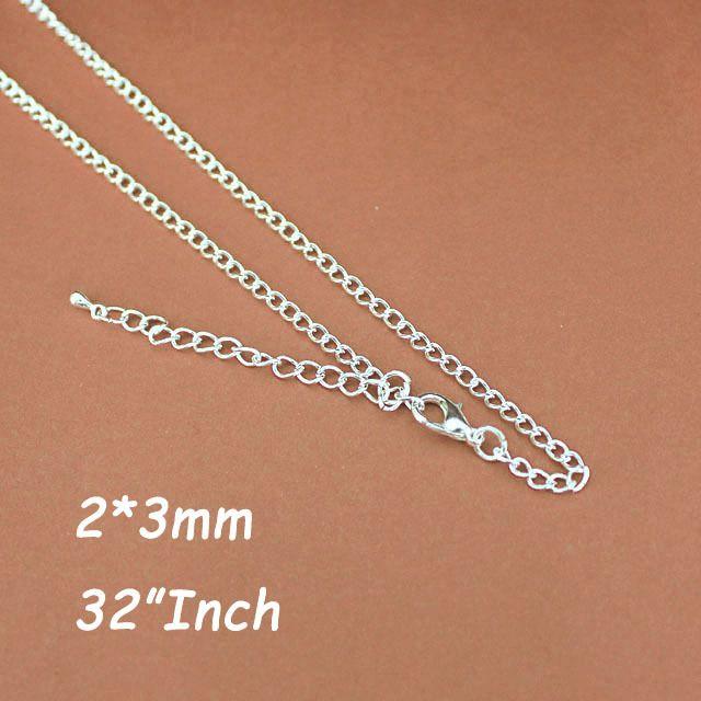 Посеребренные 2 мм 32  картье цепи ожерелье с фермуаров омара 5 см удлинитель цепи и слеза падает для кулон ювелирные изделия diy аксессуаров