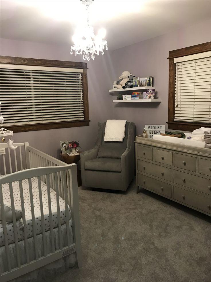 Lavender Nursery #Chandelier #nursery #babygirl #style #love #design #baby #potterybarnkids