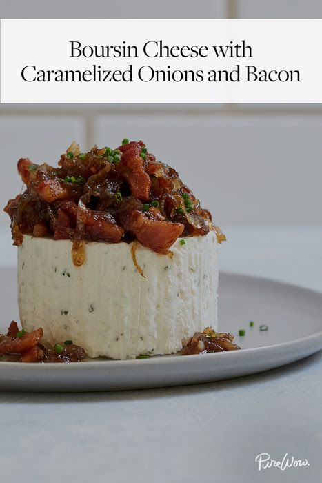 Boursin Cheese with Caramelized Onions and Bacon via @PureWow