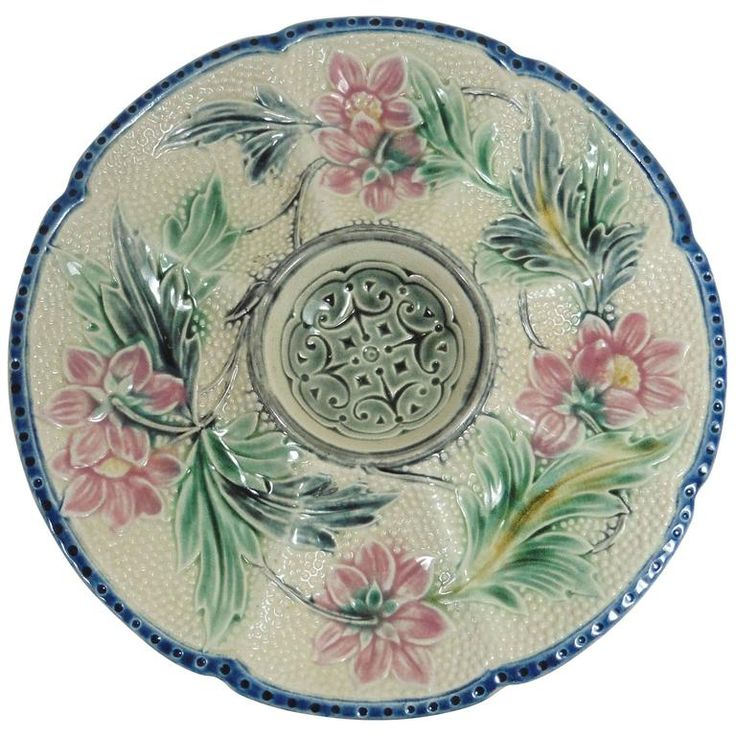 Majolica Oyster Plate Wasmuel, circa 1890 | From a unique collection of antique and modern dinner plates at https://www.1stdibs.com/furniture/dining-entertaining/dinner-plates/