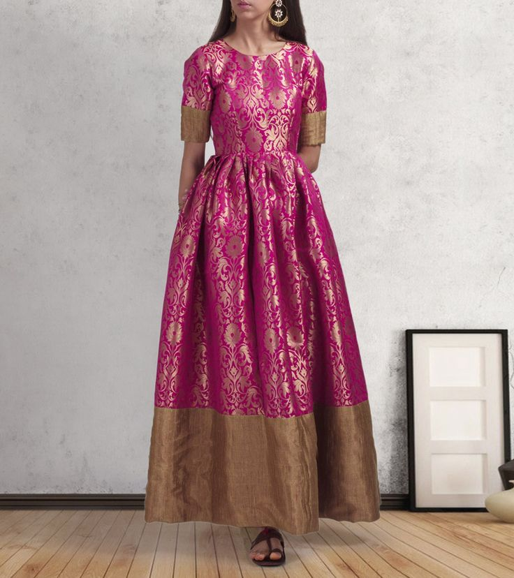 Pink Brocade Border Work Gown #skirts #lehengas #ethnicwear #fusionwear