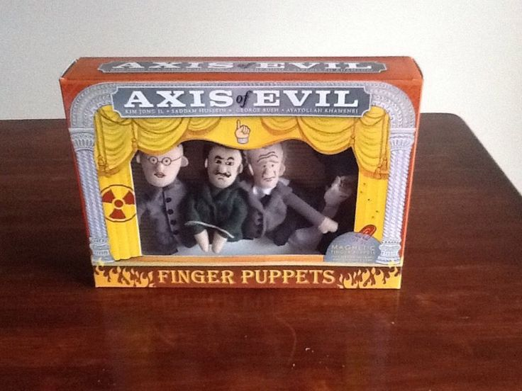 AXIS OF EVIL Finger Puppets King Jong Il,Saddam Hussein,G.Bush,Ayatollah Khamene