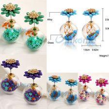 Flower Ball Earrings 18K Gold Ear Stud Jewelry Fashion Love Gift 1 Pair