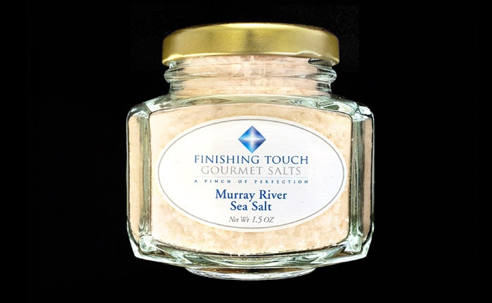 Finishing Touch Gourmet Salts  Murray River Sea Salt  www.finishingtouchsalts.com  Terrific on shrimp from the barbie, and so much more. A sea salt drawn from a river in Southern Australia, these delicate, mild, apricot colored flakes are one-of-a-kind. Murray River Australian flake salt consists of tiny apricot-pink flakes shaped like pyramids. Light and moist, with a delightfully mild flavor, this salt is an ideal finishing salt due to its texture and a note of sweetness.