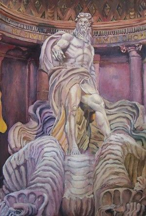 Trevi, Neptune Rules 36 x 24 (91.5cm x 61.0cm) Oil on canvas board. Centerpiece of a triptic set on the Trevi Fountain at Rome. Phil Carrero