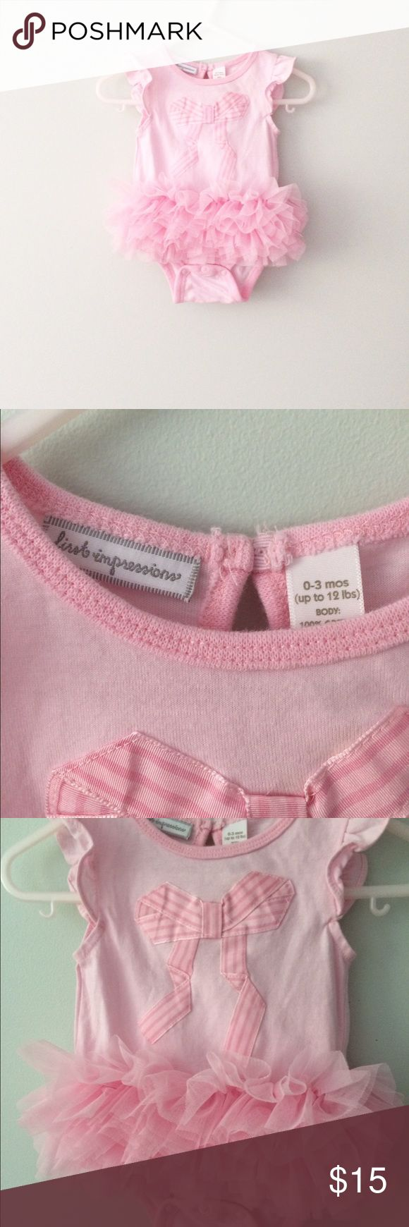 First Impressions [baby] Pink tutu Bodysuit Worn once for a baby show. Snaps at crotch. First Impressions One Pieces Bodysuits