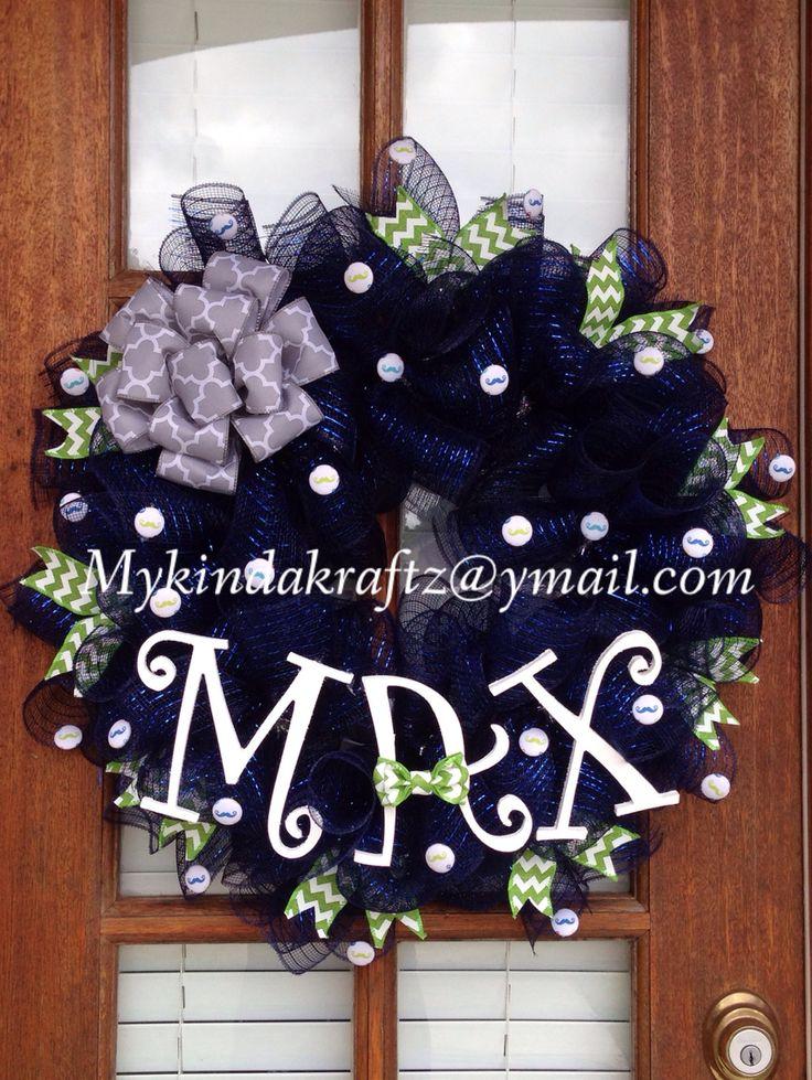 It 39 s a boy baby boy wreath baby shower hospital door for Baby boy door decoration