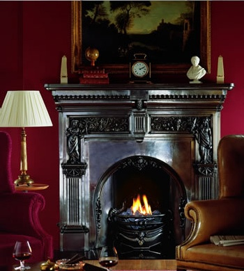 Traditional Fireplace Peace And Plenty Against A Red