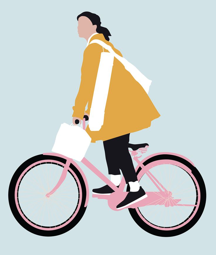 Vector Woman Riding Bicycle