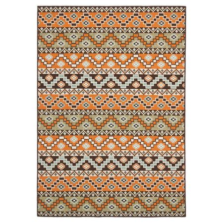 Stylishly anchor your dining set or patio seating group with this loomed rug, showcasing a Southwestern-inspired motif in terracotta and chocolate.