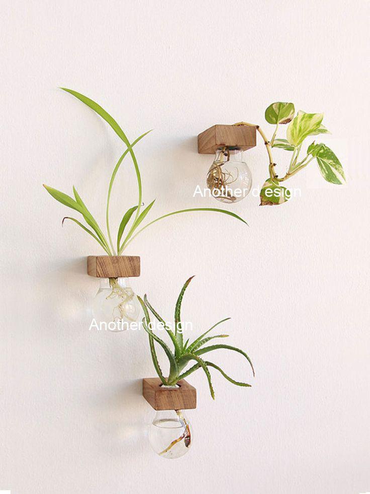 Lampadina vasi di vetro wall hanging vasi da fiori fioriere decorazione domestica di cristallo vasi di fiori in legno massiccio bar negozio fai da te bonsai lampadina decorativa(China (Mainland))