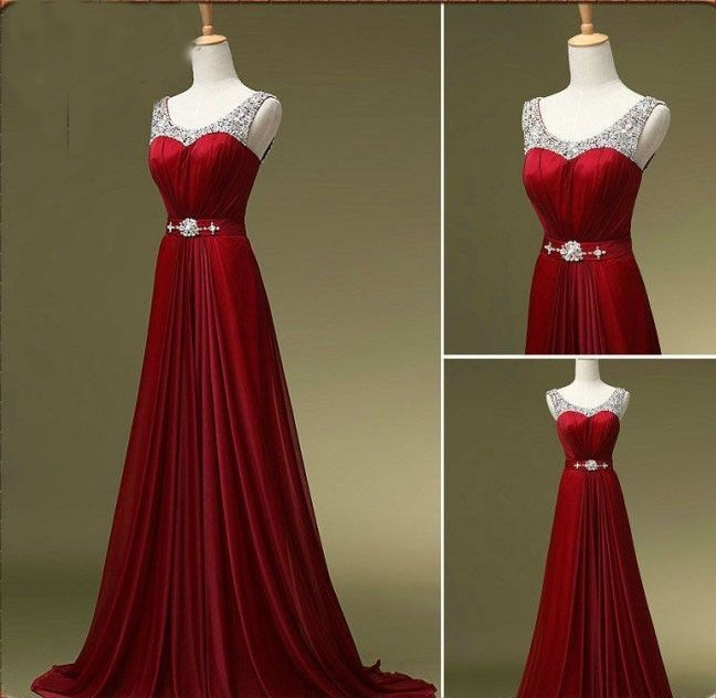 Red Scoop Neck Beads Long Prom Formal Evening Pageant Gown Wedding Party Dress | eBay